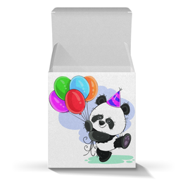 """Коробка для кружек """"Панда поздравляет!"""" - панда, шарики, день рождения, медвежонок, поздравительный"""