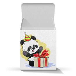 """Подарочная коробка-куб """"Панда поздравляет!"""" - панда, медвежонок, день рождения, подарок, сюрприз"""