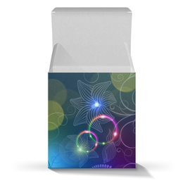 """Подарочная коробка-куб """"Калейдоскоп"""" - цветы, абстракция"""