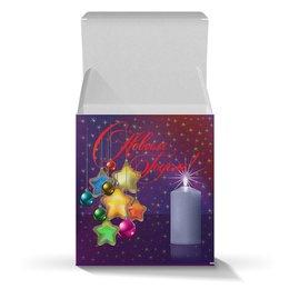 """Коробка для кружек """"НОВЫЙ ГОД"""" - надпись, звезды, красота, санта, свеча"""