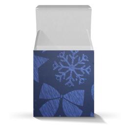 """Подарочная коробка-куб """"Новогодняя"""" - новый год, снежинки, шары, звёзды, ёлки"""