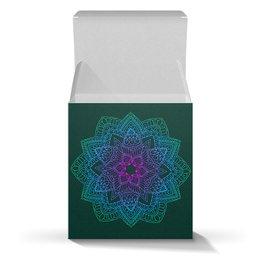"Коробка для кружек ""Яркая мандала на темно-зеленом"" - праздник, цветы, подарок, мандала"