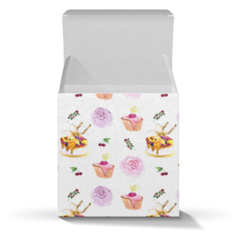 """Коробка для кружек """"Коробка для кондитерской"""" - цветы, капкейк, ягодки, коробка, патерн"""