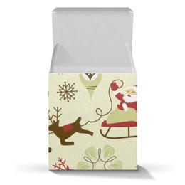 """Подарочная коробка-куб """"Новогодняя"""" - новый год, санта клаус, ёлка, снеговик"""