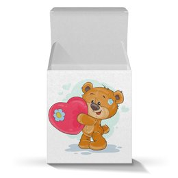 """Коробка для кружек """"Большое сердце"""" - сердце, медведь, поцелуй, день валентина, день влюблённых"""