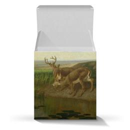 """Коробка для кружек """"Deer on the Prairie"""" - картина, живопись, олени, прерии, берд"""
