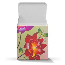 """Подарочная коробка-куб """"Огненные цветы"""" - цветы"""