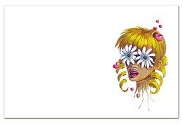 """Визитная Карточка """"Евро"""" """"Без ума от цветов"""" - любовь, девушка, цветы, сердца, блондинка"""