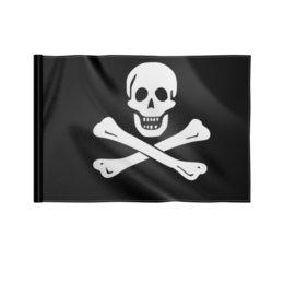 "Флаг 22х15 см ""Пираты"" - череп, приколы, пираты, кости"