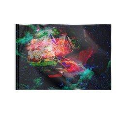 """Флаг 22х15 см """"Галактическая избенка"""" - коллаж, яркий, акварель, домики, фантазийный пейзаж"""