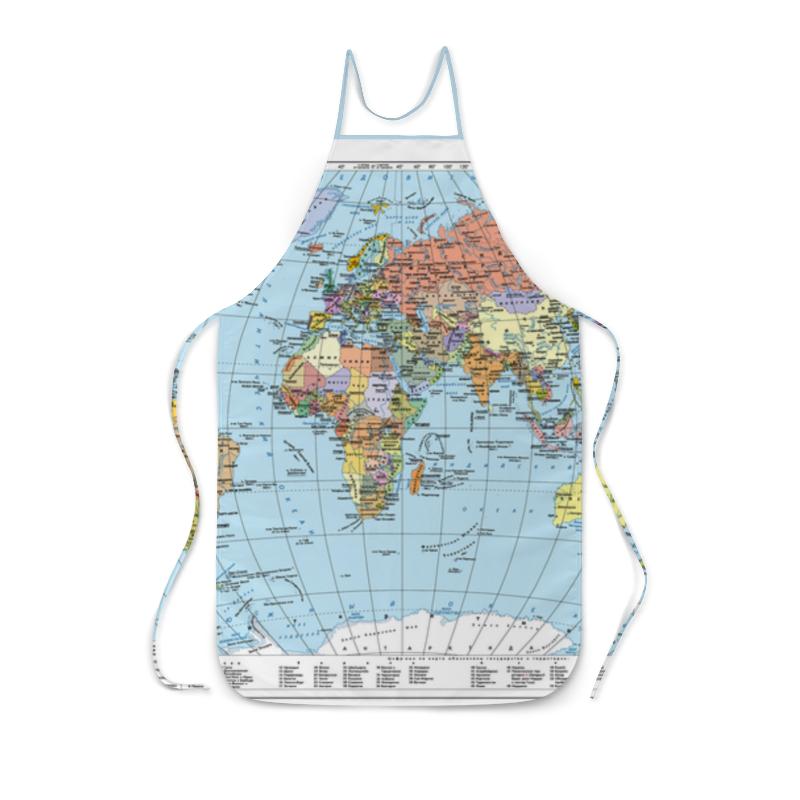 Фартук с полной запечаткой Printio Карта мира политическая карта мира физическая карта мира ng a1