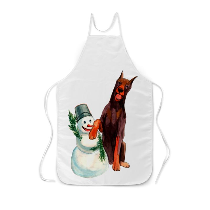 футболка с полной запечаткой для мальчиков printio забавная акварельная собака символ 2018 года Фартук с полной запечаткой Printio Забавная акварельная собака, символ 2018 года