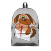 """Рюкзак 3D """"Пес Захар пишет письмо"""" - пес, письмо, уроки, писать, сочинение"""