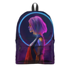 "Рюкзак 3D ""Pink Hair"" - девушка, фантастика, киборг"