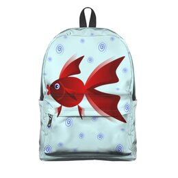 """Рюкзак 3D """"Золотая аквариумная рыбка"""" - арт, золотая рыбка, аквариум, детская иллюстрация, под знаком рыб"""