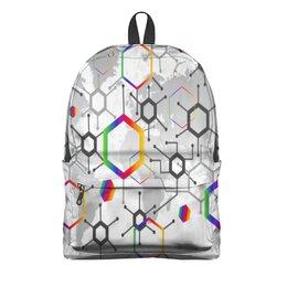 "Рюкзак 3D ""Формула"" - узор, текстура, формула, химия, молекулы"