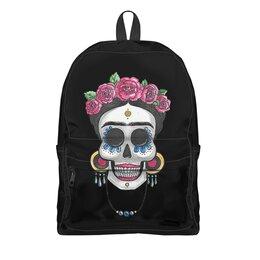 """Рюкзак 3D """"Фрида"""" - череп, цветы, яркий, розы, фрида"""