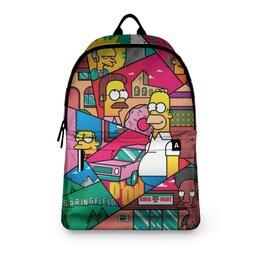 """Рюкзак 3D """"Simpsons"""" - мультфильм, симпсоны, мульт, для школы, киноманам"""