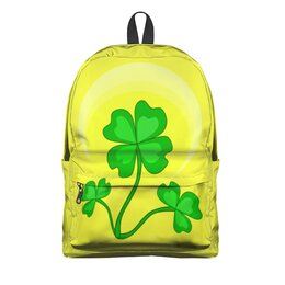 """Рюкзак 3D """"День святого Патрика - волшебный четырехлистник"""" - зеленый, паттерн, лист клевера, день святого патрика, четырехлистник"""