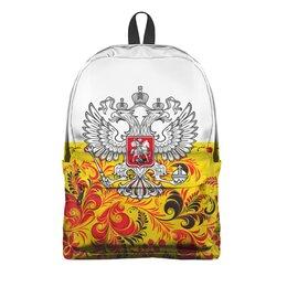 "Рюкзак 3D ""Хохлома"" - цветы, россия, герб, орел, хохлома"