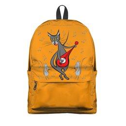 """Рюкзак 3D """"Кот с гитарой - мышь в танце"""" - кошка, гитара, играет"""