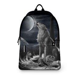 "Рюкзак 3D ""ВОЛКИ ФЭНТЕЗИ"" - стиль, луна, руны, магия, арт фэнтези"