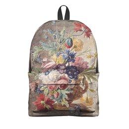 "Рюкзак 3D ""Цветочный натюрморт (Ян ван Хёйсум)"" - цветы, картина, живопись, натюрморт, ян ван хёйсум"