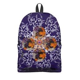 """Рюкзак 3D """"Цветение."""" - цветы, узор, фиолетовый, фантазия, астры"""