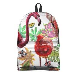 "Рюкзак 3D ""Птица"" - лето, птицы, природа, тропики, фламинго"