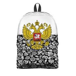 """Рюкзак 3D """"Цветы и герб"""" - цветы, россия, герб, орел, хохлома"""