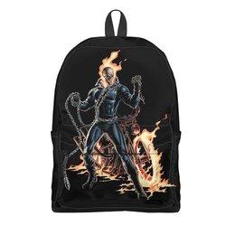 """Рюкзак 3D """"ПРИЗРАЧНЫЙ ГОНЩИК. КРАСИВЫЕ ФИЛЬМЫ"""" - персонаж, скелет, огонь, мотоцикл, арт фэнтези"""