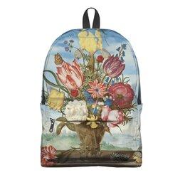 """Рюкзак 3D """"Букет цветов на полке (Амброзиус Босхарт)"""" - цветы, картина, живопись, натюрморт, босхарт"""