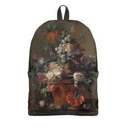 """Рюкзак 3D """"Ваза с цветами (Ян ван Хёйсум)"""" - цветы, картина, живопись, натюрморт, ян ван хёйсум"""