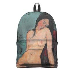 """Рюкзак 3D """"Сидящая обнажённая (картина Модильяни, 1916)"""" - картина, живопись, ню, экспрессионизм, модильяни"""