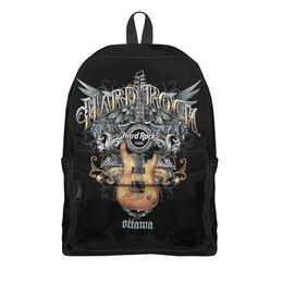 """Рюкзак 3D """"МУЗЫКА. HARD ROCK"""" - крылья, гитара, эмблема, стиль надпись логотип яркость, арт фэнтези"""