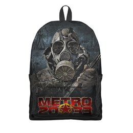 """Рюкзак 3D """"МЕТРО 2033. ВИДЕОИГРЫ"""" - персонаж, противогаз, маска, оружие, стиль надпись логотип яркость"""