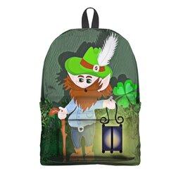 """Рюкзак 3D """"Лепрекон с фонарем и волшебный клевер"""" - клевер, фонарь, день святого патрика, карлик, четырехлистник"""