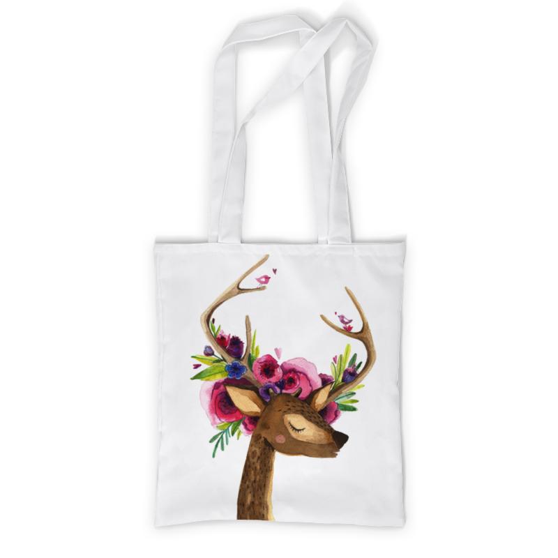 Сумка с полной запечаткой Printio Олень с цветами в рогах сумка printio подслушано олень с тату