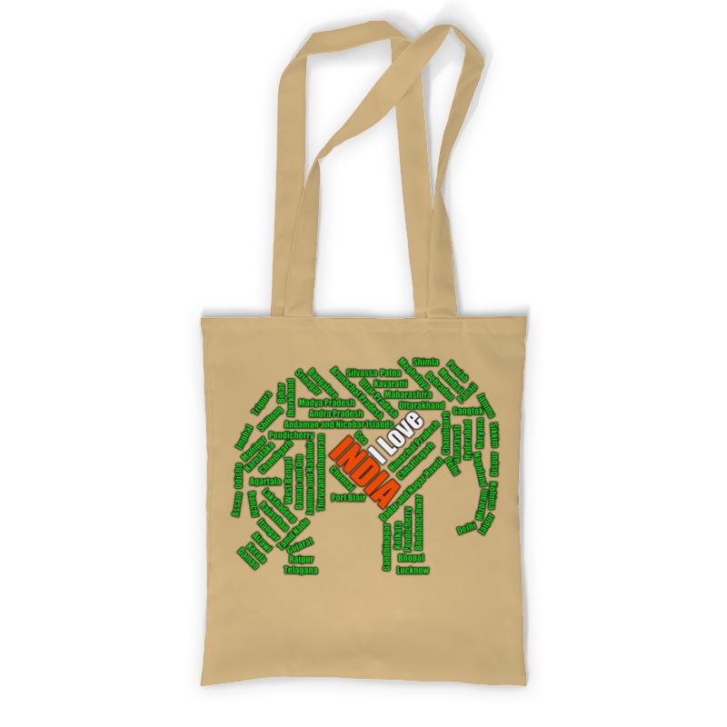 Printio I love india (зелено-бело-оранжевый слон)