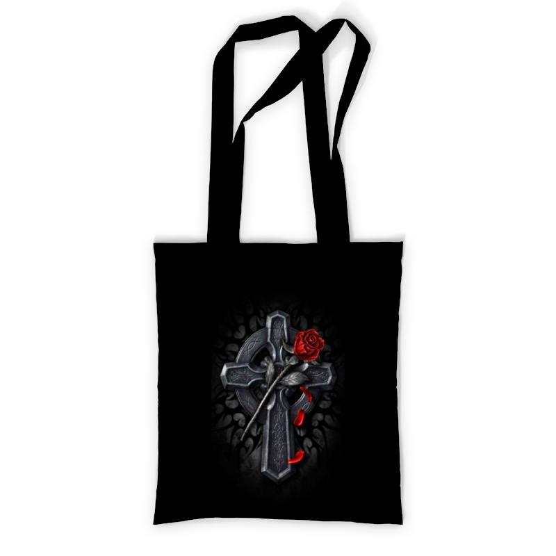 Сумка с полной запечаткой Printio Крест с красной розой сумка printio крест