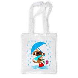 """Сумка с полной запечаткой """"Пес с зонтом и цветком """" - праздник, цветок, пес, дождь, зонт"""