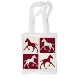 """Сумка с полной запечаткой """"Жеребята на красном и бежевом фоне"""" - красный, графика, конь, жеребенок, кобыла"""