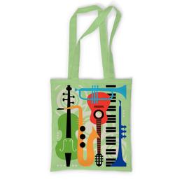 """Сумка с полной запечаткой """"Музыкальные инструменты"""" - музыка, гитара, скрипка, инструменты, саксафон"""