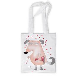 """Сумка с полной запечаткой """"Бледная собака"""" - собака, прикол, новый год, символ года, праздник"""