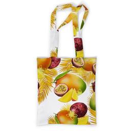 """Сумка с полной запечаткой """"Тропические фрукты"""" - фрукты, рисунок, тропики, папайя, маракуйя"""