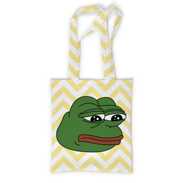"""Сумка с полной запечаткой """"Грустная лягушка"""" - мем, meme, грустная лягушка, sad frog, pepe frog"""