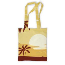"""Сумка с полной запечаткой """"Закат"""" - лето, солнце, море, пляж, пальмы"""