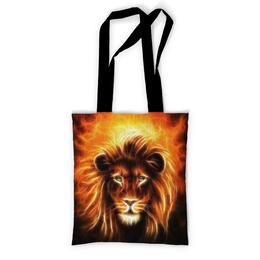 """Сумка с полной запечаткой """"Огненный лев"""" - лев, огонь, животное"""