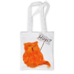 """Сумка с полной запечаткой """"Обнимашки?"""" - кот, cat, рыжий, обнимашки, hugs"""