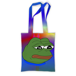 "Сумка с полной запечаткой ""Sad Frog"" - мем, meme, sad frog, pepe frog, pepe the frog"